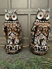 pair 22 life size great horned owl hand painted ceramic glass lamps MCM 1960s