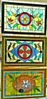 3 Antique Victorian Stained Glass Windows Flowers Jewels Rondels Rippled Glass