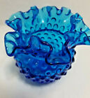 Fenton Dark Sky Blue Ruffled Hobnail 4 tall Art Glass Vase