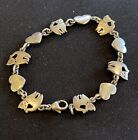 Retired  Very Rare JAMES AVERY Cats  Hearts Link Bracelet Sterling Silver 925