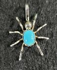 Native American Navajo Sterling Silver Spider Turquoise Pendant 24 Chain NWOT
