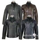 David Beckham Stannard style Quilted Leather Jacket Mens Padded Motorbike Gents