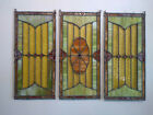 Vintage Leaded  Stained Glass 3 Panel Windows