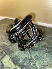 Twisted Rope Endless Knot Hand Blown Black Art Glass w Silver Flecks