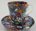 Murano Glass Quilt Millefiori Cup and Saucer