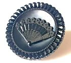 Large Antique Black Glass Pictorial ButtonFAN with Sparkling Faceted Border