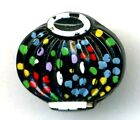 Vintage Black Glass Realistic ButtonLantern with Colorful Trim