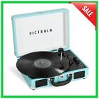 Portable Record Player 3 Speed Turntable Bluetooth Suitcase With Stereo Speakers