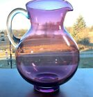 LARGE VINTAGE PURPLE GLASS PITCHER CLEAR APPLIED GLASS HANDLE BEAUTIFUL