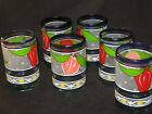 6 Mexican Hand Blown Glass Tumblers Drinking Glasses Painted