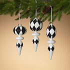 Black White Harlequin Ball Onion Finial Large Drop Glass Ornament 9 Set 3