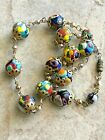 Venetian Millefiori from Italy Murano Art Glass Beads 20 Antique Necklace