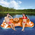 Inflatable Island Raft 2 Person Floating Relaxation Pool Lake w Built in cooler