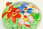 Colorful SOLID ART GLASS Pretty LADY BUG ON FLOWERS PAPERWEIGHT