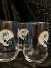 Miami Dolphins NFL Drinking Glass Tumbler Cups 1980 set of 3