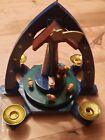 Vintage German Pyramid Blue Hand Painted Wooden Carousel Nativity Theme