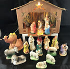 VINTAGE 21 PC NATIVITY SET 1950s CHALKWARE