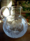 Vintage Tiffany  Co Lily of the Valley 64 oz Etched Crystal Pitcher Carafe