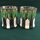 Set of Two Mackenzie Childs Tulips and Stripes Tumblers Rocks Glasses