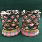 Set of 2 Mackenzie Childs VICTORIA  RICHARD Rose Arbor Tumbler Glasses 1991 93