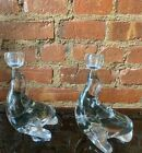 MID CENTURY PAIR MURANO ART GLASS FIGURAL SEALS BOOKENDS CANDLESTICK SEGUSO MCM