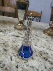 Blue Glass Candle Snuffer with Elaborate Rose and Daisy Silver Design