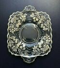 Vintage Small Square Tray Clear Glass w Sterling Silver Overlay Berries 625