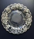 Vintage Sterling Silver Berries Overlay Clear Glass Round Serving Platter 825