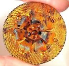 Antique Amber Lacy Glass ButtonOnly Lacy In Book with Back Mark