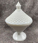 Vintage Westmoreland White Milk Glass Diamond Point Pattern Candy Dish With Lid