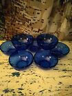 7 Vintage Cobalt Blue Glass Soup Cereal Bowls Made in Mexico