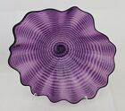 Hand Blown Glass Art Wall Platter Bowl Plate Spiral Wrapped Oneil 1605 purple
