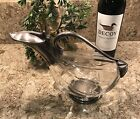 VINTAGE  RARE Duck Goose Glass  Silver Plated Decanter Pitcher EUC