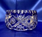 Heavy Cobalt Blue Cut To Clear Lead Crystal Bowl Made in France