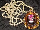 JULIANA 4 CELEBRITY SIGNED IRIDESCENT VICTORIAN VTGCAMEO BROOCH NECKLACE LOT
