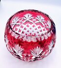 Czech Bohemian Crystal Red Cut To Clear Globe Vase Bowl Art Glass 5