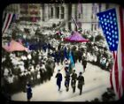 Magic Lantern GLASS Colored PHOTO SLIDE American Flags Military Parade Patriotic