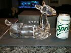 STEUBEN GLASS Large Deer Doe Buck Fawn Signed w Controlled Bubbles VF