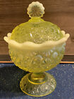 Fenton YELLOW VASELINE Covered Candy Dish DAISY  BUTTON Opalescent LG WRIGHT