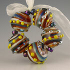 Polychrome Beads Lampwork Cowboy Blues handmade glass 5 large spiral rounds
