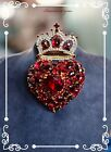 Chris Crouchs Moans Couture HighEnd Ruby Heart Crown Art Glass Bow 50 Pin
