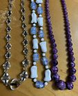 Fabulous Lot Of 3 Vintage Glass Beaded Art Deco Necklaces 16 chokers crystal