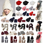 Womens Ladies Pom Cable Knitted Thicken Beanie Hat Scarf Gloves Set Warm Winter