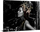 40x60 Brilliant Tempered Glass Native Woman with Headpiece by Classy Art