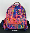 CHANEL CC Foulard Fabric Quilted Printed Backpack Pink Travel Bag B293 Authentic