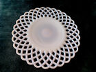 Vintage Fenton Pink Milk Glass Basketweave Cake Plate