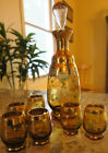 VINTAGE CZECH BOHEMIAN GLASS DECANTER CORDIAL SET HAND PAINTED AMBER