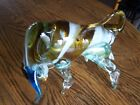 VINTAGE MURANO STYLE ITALIAN ART HAND BLOWN GLASS BULL FIGURE 9 LONG