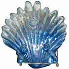 Art Glass Iridescent Blue Silver Footed Clam Shell Decorative Candy Trinket Dish