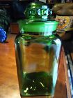 Vintage emerald green handblown glass apothecary canister jar OLD and BEAUTIFUL